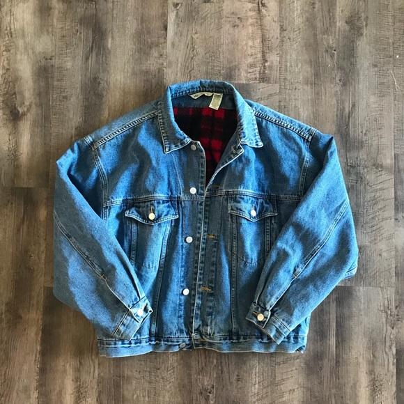 Eddie Bauer Jackets Coats Red Flannel Lined Denim Jacket Large